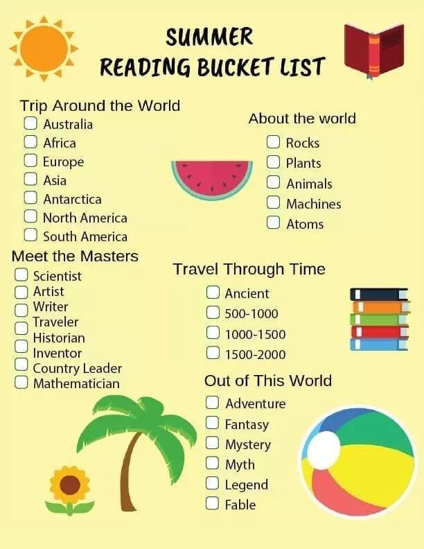 Free Printable Summer Reading Bucket List