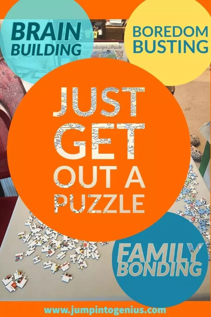 Get out a box, dump in on the table, and take a break when you are frustrated. Sooner or later, the kids will join you and the puzzle will be elevated to a family bonding activity, boredom buster, and brain builder.