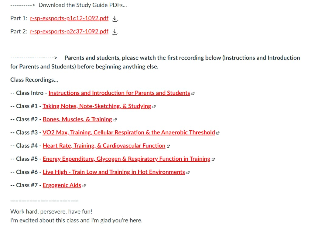 This is the dashboard and table of contents for the exercise and sports physiology course.